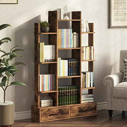 Rolanstar Bookshelf with 2 Wooden Drawers, Rustic Wood Bookshelves, Free Standing Book Shelf Industrial Shelf Free Standing Storage Shelf for Bedroom, Living Room, Home Office, Rustic Brown