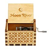 Antique Wooden Music Box Hand Crank Musical Box Birthday Gift (Moon River)