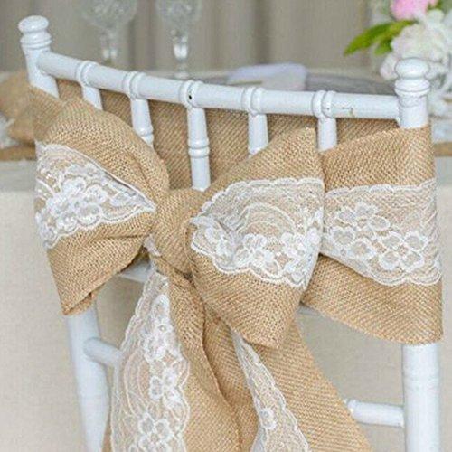 Houseesweet - Faja para silla de arpillera para bodas o eventos, banquetes, decoración de sillas, lazos marrón