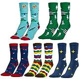 MOOKLIN ROAM 5 pares de Calcetines Estampados Colores Hombres Mujeres Termicos Invierno Divertidos Calcetín de Algodón Unisex Adulto
