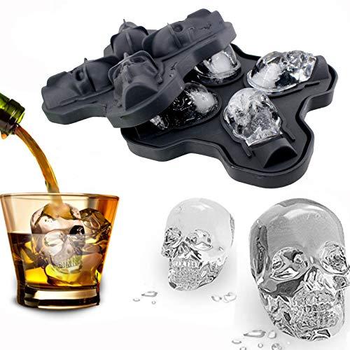 Buding 3D-Schädel 3D Skullhead Schädel Flexible Silikon Eiswürfelform, Vier Riesige Schädel, Runde Eismaschinen, Totenkopf EIS Für Cocktails, Longdrinks, Whiskey Und Halloween 12x12x4cm