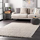 """nuLOOM Hand Woven Chunky Natural Jute Farmhouse Area Rug, 5' x 7' 6"""", Off-white"""