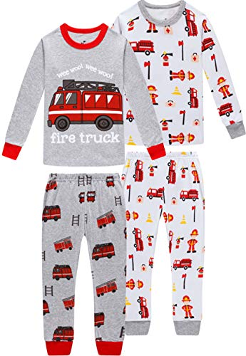 Image of 4 Piece Firemen and Fire Truck Pajamas for Boys