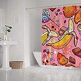 Kuizee Duschvorhang wasserdicht? Süßigkeiten Süßigkeiten Früchte Banane Schokolade Pink Badvorhänge Polyester Dekor Badezimmer wasserabweisender Badvorhang