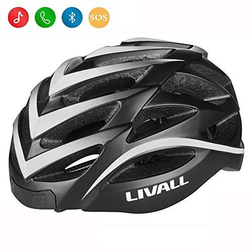 LIVALL BH62スマートブリンブリン自転車用ヘルメット(前面および背面にLED付き)、防風マイク内蔵、Gセンサー、Bluetoothスピーカー、Blingジェットコントローラー付きサイクリングヘルメット(ブラック/ホワイト)