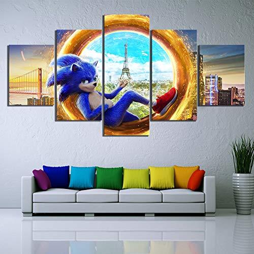 yiyitop HD Impresiones Imagen Arte de la Pared Pintura de la Lona 5 Panel Sonic Hedgehog Movie Modular Poster Living Room Home Decoration