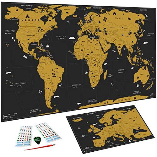 WIDETA Weltkarte zum Rubbeln in Spanisch/Poster XXL (82 x 43 cm) Gold und schwarz, Bonus Europakarte und Rubbelwerkzeuge