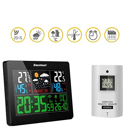 Febelle Estación meteorológica excelvan Colorido medidor estación inalámbrica Reloj Despertador pronóstico Temperatura y Humedad