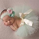 Yesiidor Rock Baby Mädchen Foto Fotografie Outfits Baby Kostüm Tütü Rock Blumen Stirnband
