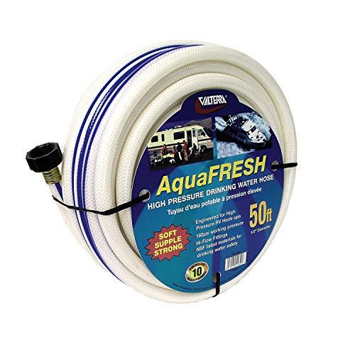 Valterra AquaFresh High Pressure Drinking Water Hose, Water Hose Hookup for RV - 1/2' x 50', White