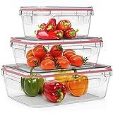 Home Fleek - Set de 3 Envases de Vidrio Rectangular para Alimentos | Recipientes Herméticos de Cristal Para La Cocina | Apto para Lavavajilla, Horno, Microondas, Congelador | Sin BPA (Rojo, Set de 3)
