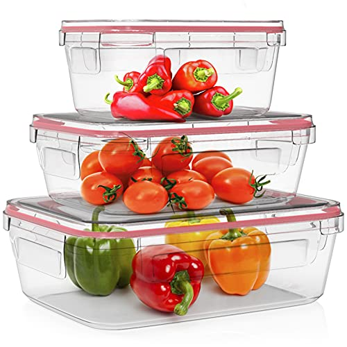 Home Fleek - Envases de Vidrio Rectangular para Alimentos | Herméticos | Sin BPA (Rojo, Set 3)