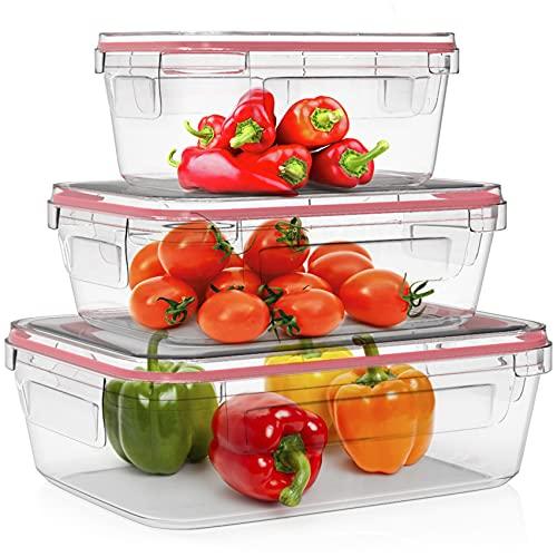 Home Fleek - Envases de Vidrio Rectangular para Alimentos   Herméticos   Sin BPA (Rojo, Set 3)