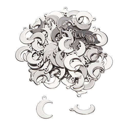UNICRAFTALE 100個 16mm 304ステンレススチール製ムーンチャーム 星空シリーズペンダント 三日月チャーム 月形 可愛い ステンレス鋼色 メタルチャーム 垂れ飾り ネックレスパーツ ジュエリー作り ネックレスブレスレットイヤリング用 アク