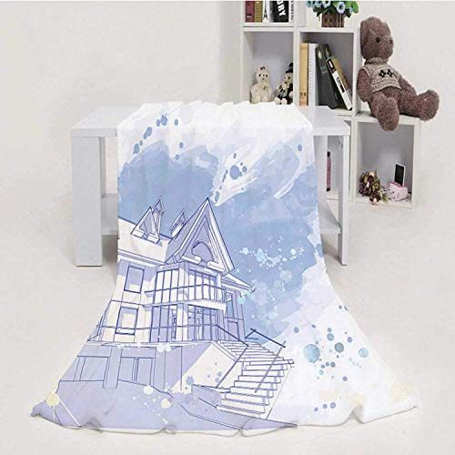 959 Custom Personalized Sketch of House on White - - - Built Structure,Flannel Fleece Throw Blanket, Weight Super Soft COZ PBed Blanket Picture Frame 60''x80''(WxL)