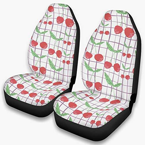 Kirsch - Juego de fundas para asientos de coche, diseño de cuadros de frutas, universales, color blanco, talla única
