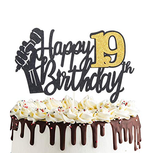 Happy 19th Birthday Cake Topper with Microphone Cheers to 19 Years Old Party Decoration Nineteenth Birthday Cake Decor