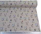 Hennen Hühner Beige Leinen Optik Hochwertig Fabric