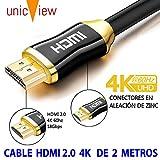 Cable de HDMI 2.0 4K Ultra HD Marca Unicview | Alta Velocidad con Ethernet | Full HD 1080p/4K Ultra HD 2160p/3D/ARC y CEC | Triple blindaje Compatible con TV I Proyector I PS4 I Xbox (30 Metros 4K)