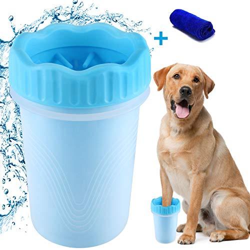 Pulitore della Zampa del Cane, Lavazampe Cani, Spazzola per Animali Domestici Portatile con Asciugamano Cane, Pulisci Zampe Cane per Cani Gatti Massaggio Toelettatura Artigli Sporchi