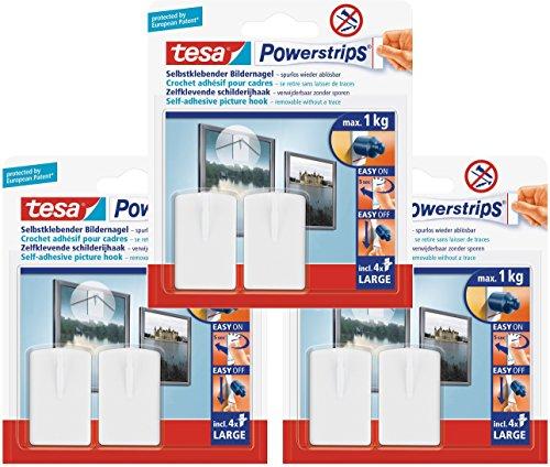 tesa Powerstrips Bildernagel, selbstklebend, weiß, 6 Stück