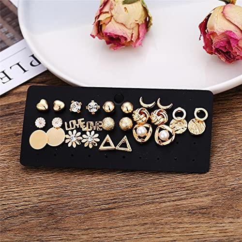 FEARRIN Pendientes Vintage con Diamantes de imitación, 30 Pares/Juego de Pendientes geométricos de Cristal para Mujer, Estilo Bohemio, Conjunto de Pendientes Vintage, joyería Femenina 50485