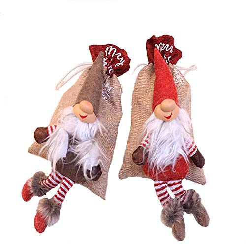 Bolsa De Dulces Con Cordón, Santa Bolsa De Bolsas Dulces Con Cordón, 2Pcs Bolsas De Regalo Navidad, Para Navidad Boda Cumpleaños Compromiso Fiesta