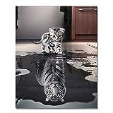 Rihe Pintura por números DIY (marco de madera al óleo gato o tigre) para adultos principiantes, decoración del hogar Con marco de madera Gato tigre o