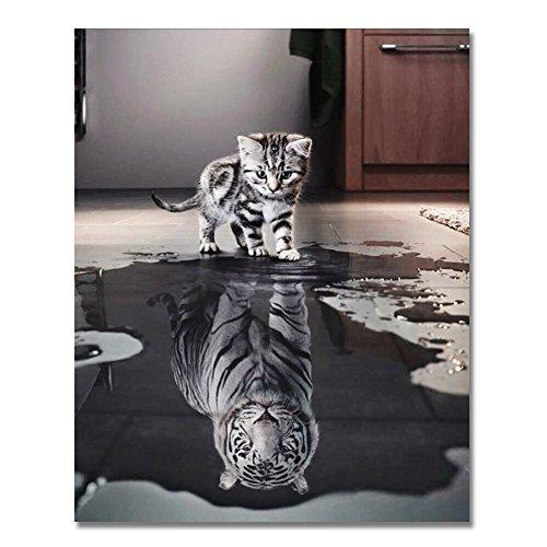 BOSHUN Malen nach Zahlen DIY Ölgemälde für Kinder Erwachsene Anfänger- Katze oder Tiger 16x20 Zoll Leinwanddruck Wandkunst Dekoration (Ohne Rahmen)