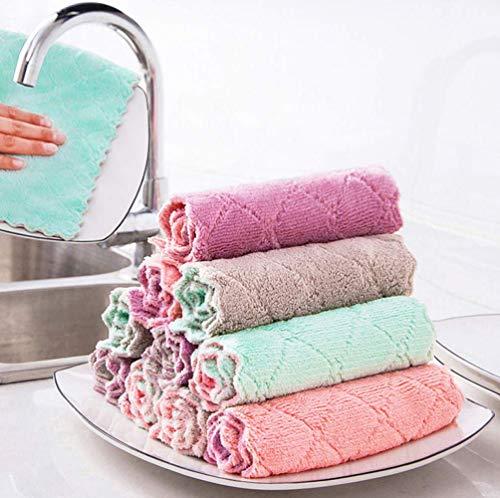 Dusenly Paquete de 10 paños de microfibra ultra absorbentes suaves para lavar platos,  toallas de limpieza de secado rápido,  color al azar