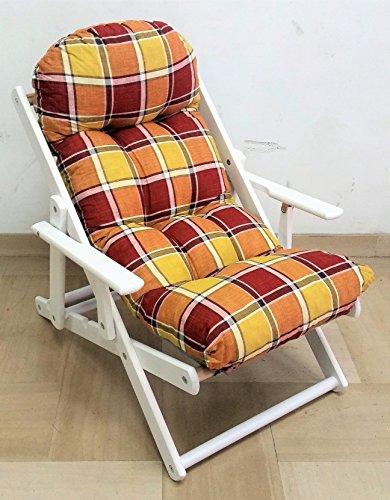 Fauteuil relax Chaise longue en bois pliable Modèle Harmony Coussin très rembourré Hauteur 100 cm Structure blanche Coussin jaune/bordeaux Référence LIB387