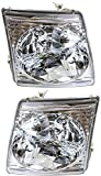 Headlight Set Compatible with 2001-2005 Ford Explorer Sport Trac 2001-2002 Left Driver and...