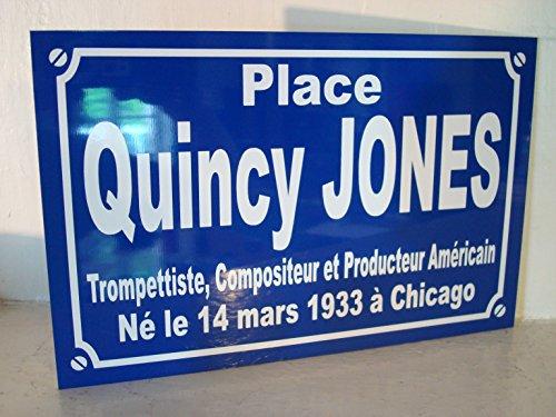 Noir & Mat Sérigraphie Quincy Jones Plaque de Rue Objet Collection Cadeau pour Fan déco Originale