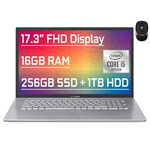 "Flagship Asus VivoBook Business Laptop 17.3"" FHD Display 10th Gen Intel Quad-Core i5-1035G1 (Beat i7-7500U) 16GB RAM 256GB SSD + 1TB HDD Fingerprint Backlit USB-C Wifi6 Win10 + iCarp Wireless Mouse"