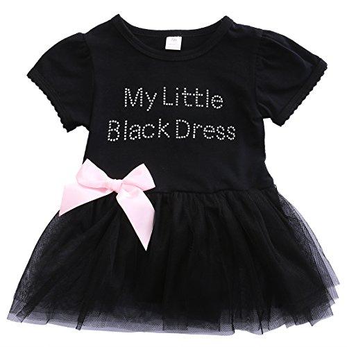 ONE'S New Infant Baby Girls Little Black Dress Pattern Tutu Skirt Bodysuit Jumpsuit (12-18 Months)