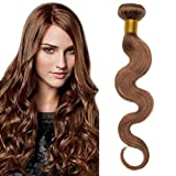 55cm Extensiones de Cortina Pelo Natutal [Brazilain Human Hair Bundles] #6 Castaño Claro Rizado (1 Pieza,100g)