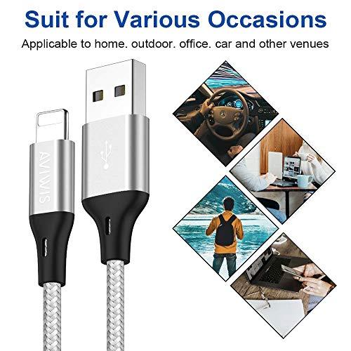 AVIWIS Phone Ladekabel [3 Stück 2M] USB Phone Ladekabel Schnellladung Nylon Phone Kabel Kompatibel für Phone 11 11 Pro 8 8 Plus 7 7 Plus 6 6S 6S Plus 5S 5 -Silber