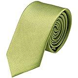 GASSANI Krawatte 8cm Breite gestreift | Olivgrüne Rips Herrenkrawatte zum Sakko | Schlips Binder einfarbig Oliv-Grün mit feinen Streifen