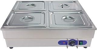 TAIMIKO Baño María eléctrico Acero Inoxidable con Válvula de Drenaje y Control de Temperatura 1500W 220-240v CE (4 Ollas)
