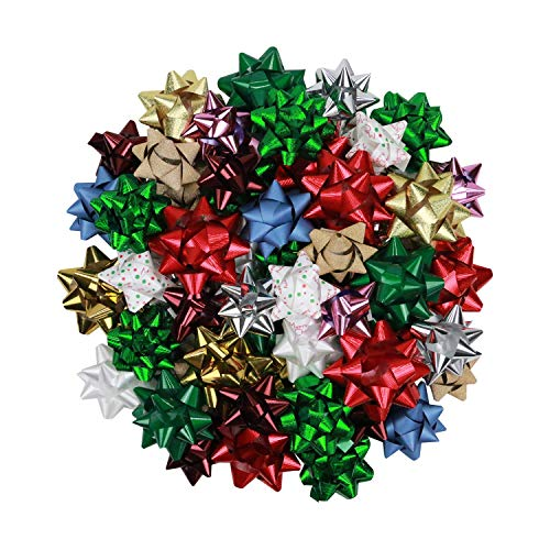Colorful Bows for Presents and Gifts for Valentine's Day, Birthdays, Christmas, and More (55 Count), 3 and 4 Inches, Assorted Colors