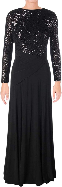 Lauren Ralph Lauren Womens Sequined FullLength Evening Dress