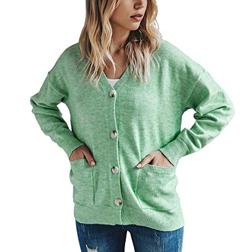 Women's Classic Kints Sweaters Cardigan,Long Sleeve Button Down V Neck Soft Solid Color Tops with Pockets Green