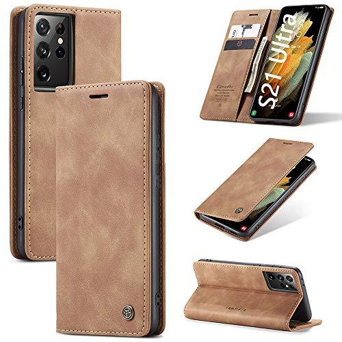KONEE Funda Compatible con Samsung Galaxy S21 Ultra, [Ranuras para Tarjetas] [Soporte Plegable]...