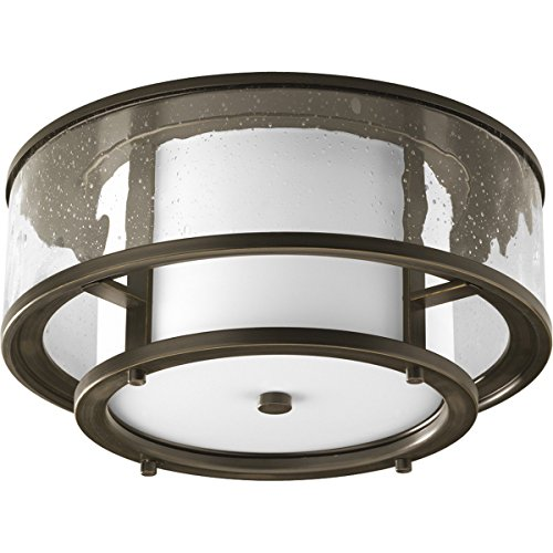 Progress Lighting P3942-20 Transitional Two Light Flush Mount from Bay Court Collection Dark Finish, Antique Bronze