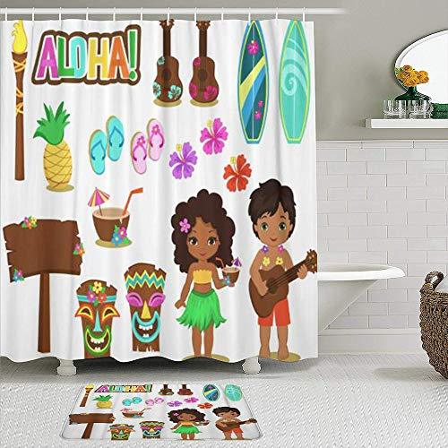 Juegos de Cortinas de baño con alfombras Antideslizantes, Hula Luau Hawaiian Collection Party Tiki Aloha Girl Kids Chanclas de Coco Tabla de Surf,con 12 Ganchos