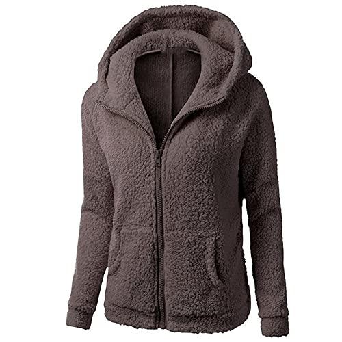Las mujeres de forro polar sudaderas con cremallera bolsillo sólido con capucha capucha abrigo invierno cálido