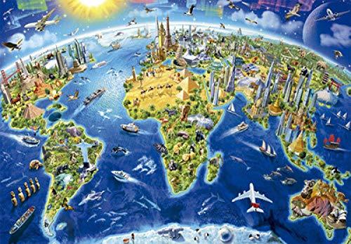 WOMGD® Houten puzzel 1000 stukjes, voor volwassenen, legpuzzels, educatief spel Brain Challenge Puzzle (wereldkaart)