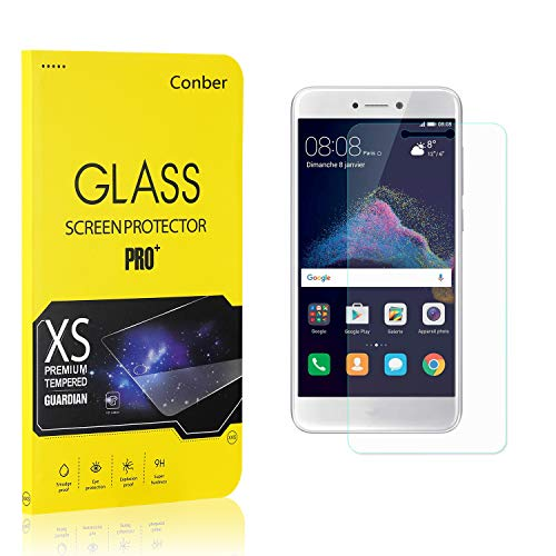 Conber (1 Pack) Screen Protector for Huawei P8 Lite 2017, [Scratch-Resistant][Anti-Shatter][Case Friendly] Premium Tempered Glass Screen Protector for Huawei P8 Lite 2017
