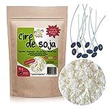Cera di soia PREMIUM 100% naturale - 1KG + 10% gratis - marchio Earth & Crafts - 10 stoppini + e-book guida GRATIS - per fare candele (in contenitore)