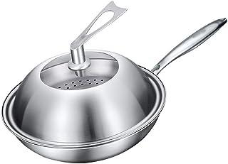 ZLJ Saute Pans Wok Poêle antiadhésive 304 Wok antiadhésif en Acier Inoxydable Wok sans fumée Wok Cuisinière à Induction Cu...